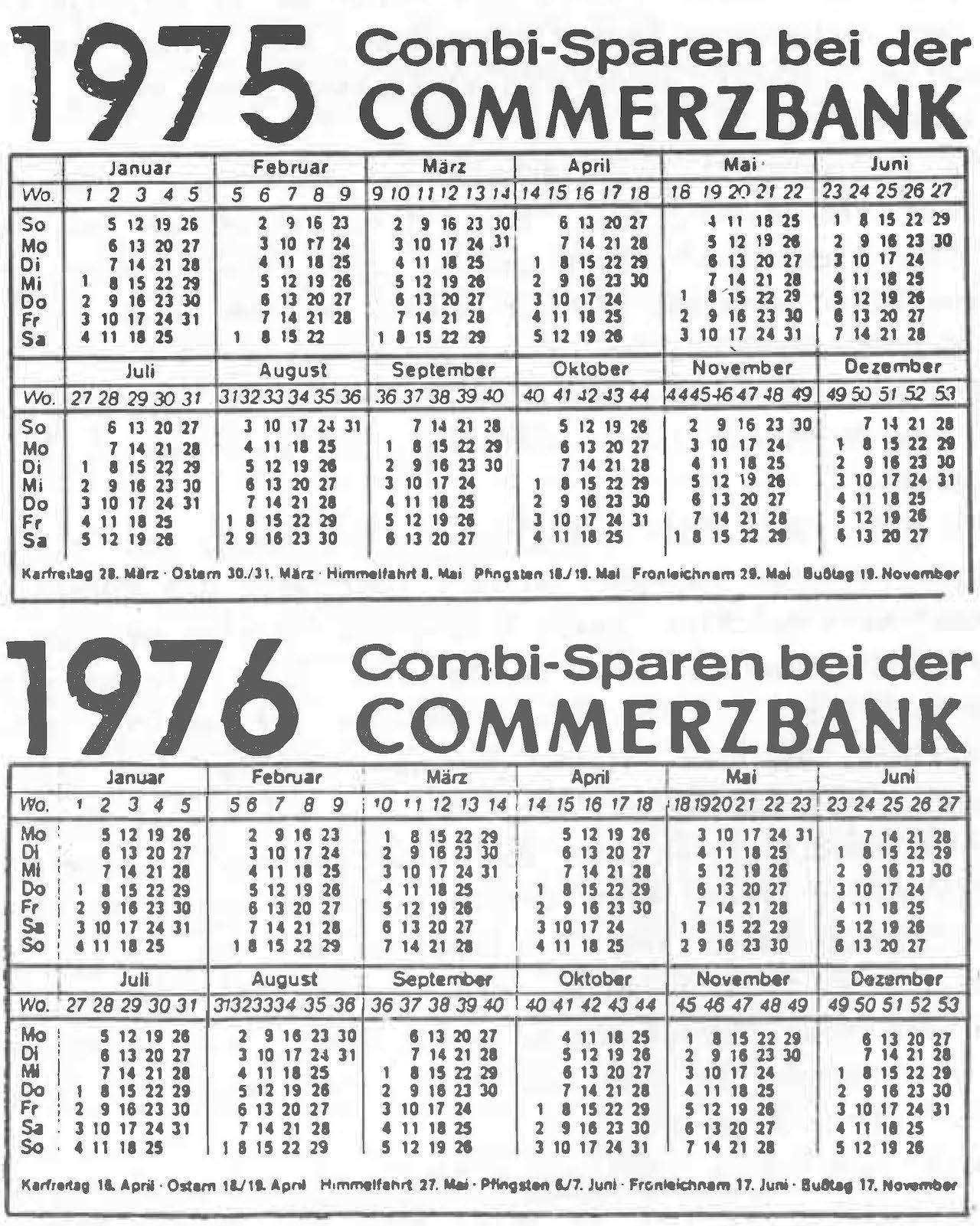 Gott sorgt - Kalenderwechsel 1975/1976
